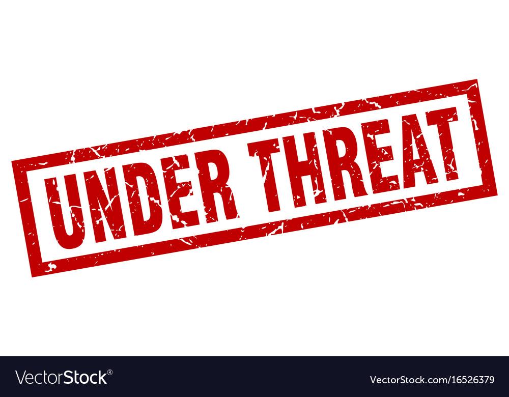 Square grunge red under threat stamp