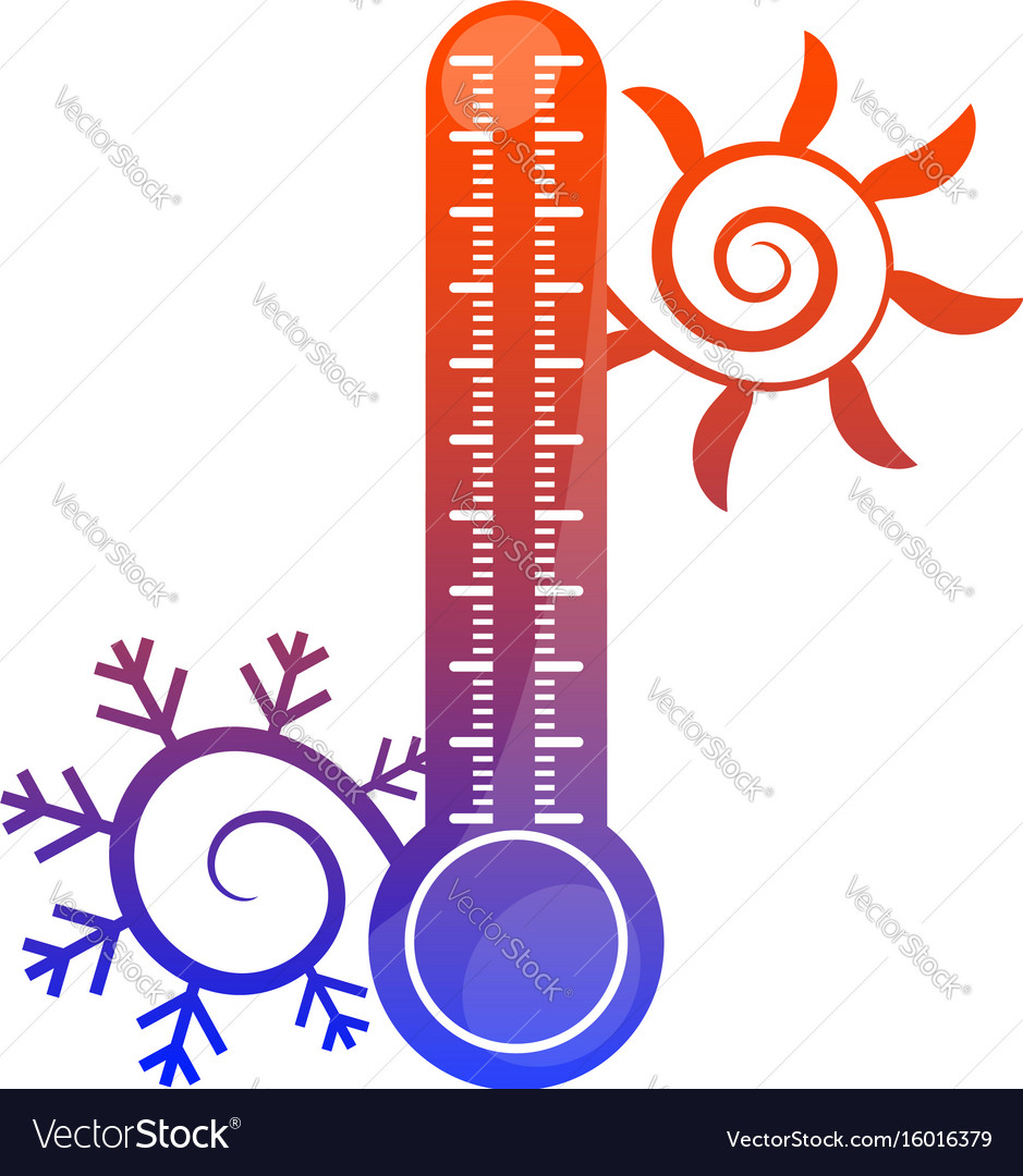 Sun snowflake and thermometer symbol