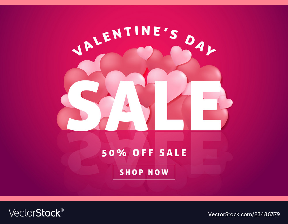 Valentines day sale background with heart balloon