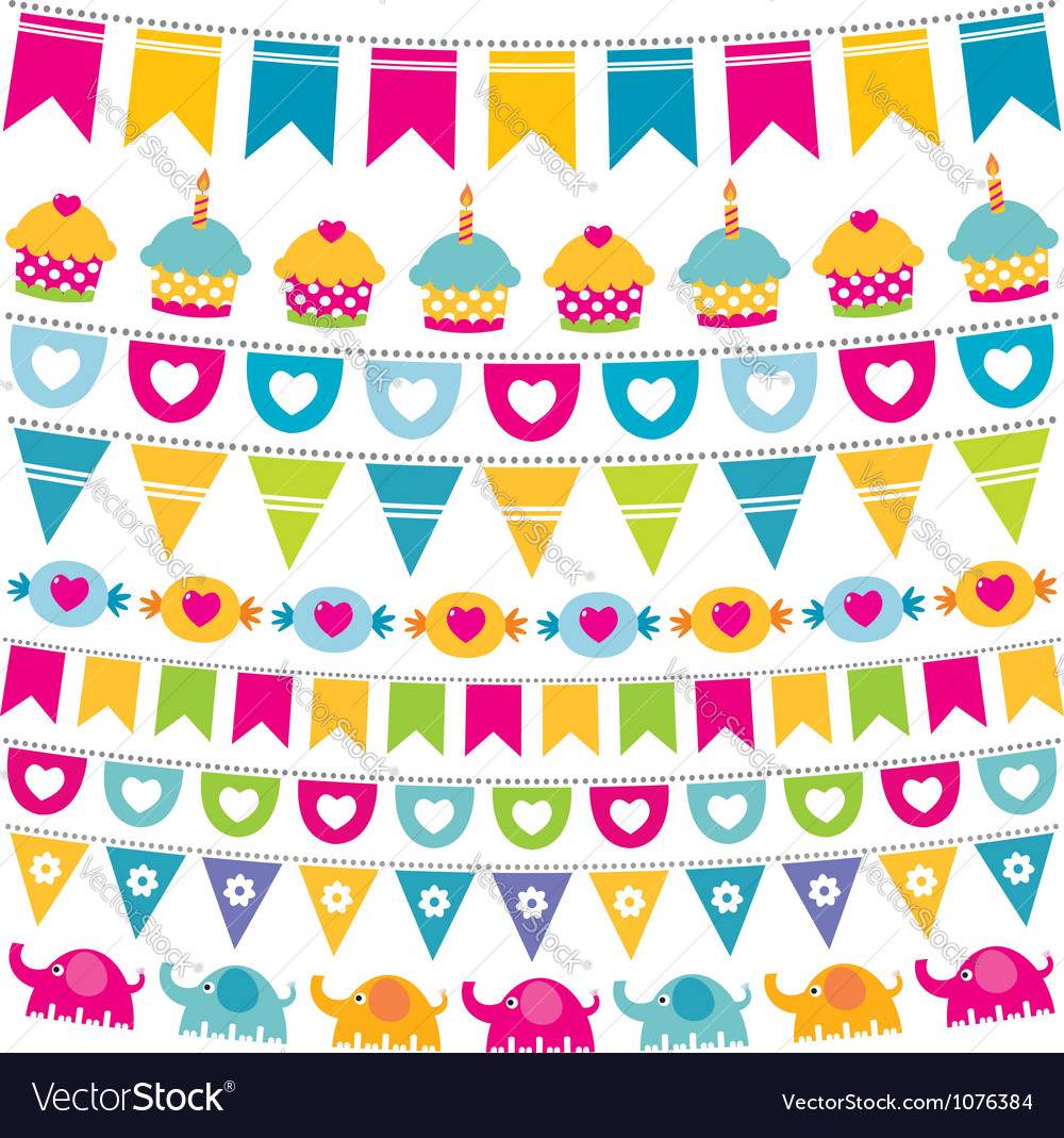 Birthday bunting flags set vector image