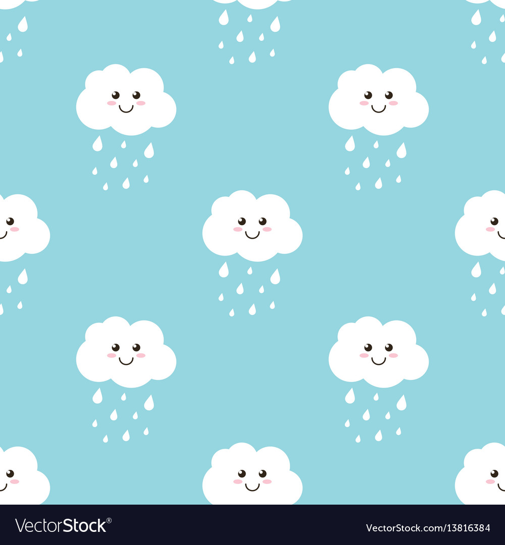 Clouds with water drops rain seamless pattern