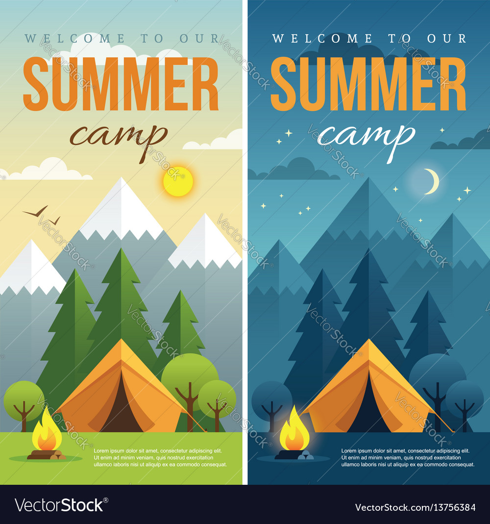 day and night summer camp banners royalty free vector image