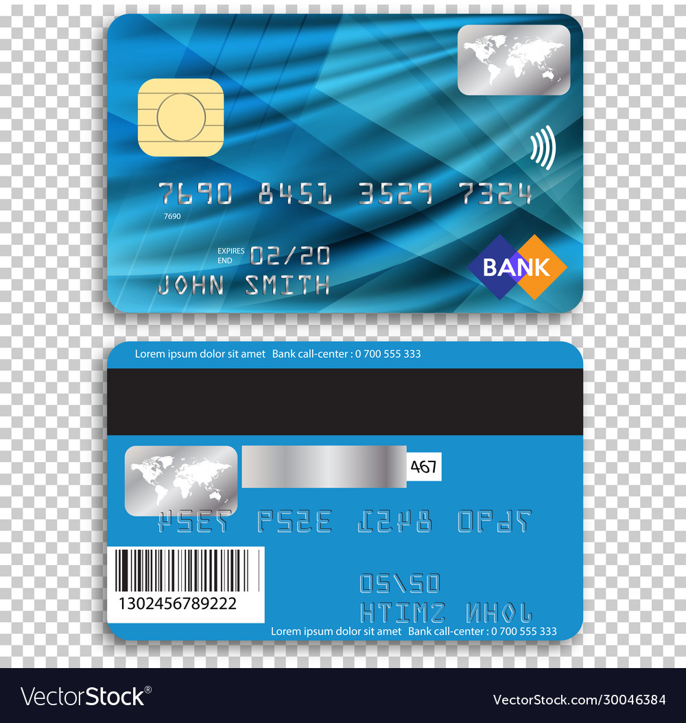 Detailed glossy credit card isolated on background