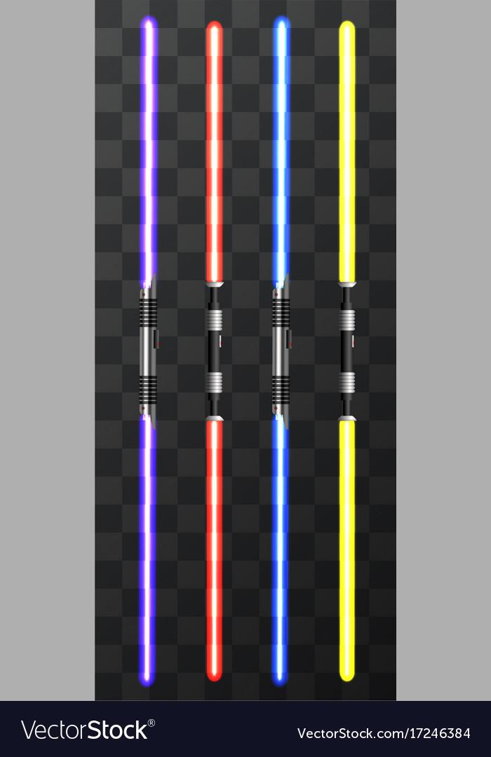 Modern light swords on transparent