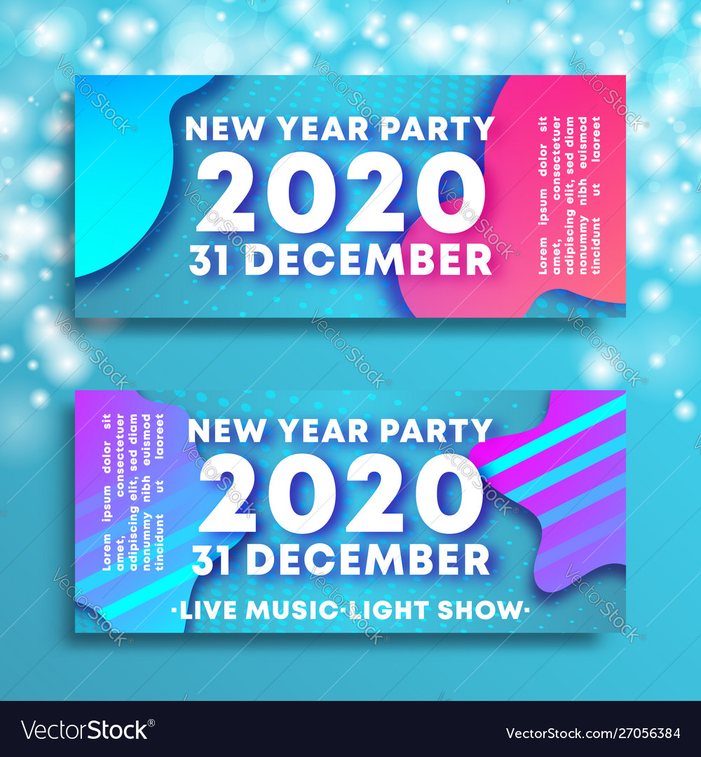 New year party 2020 banners with flowing liquid