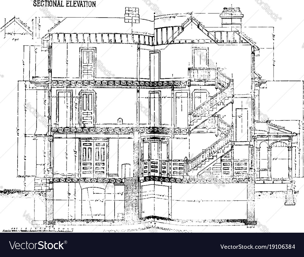 Sectional elevation is a house vintage engraving