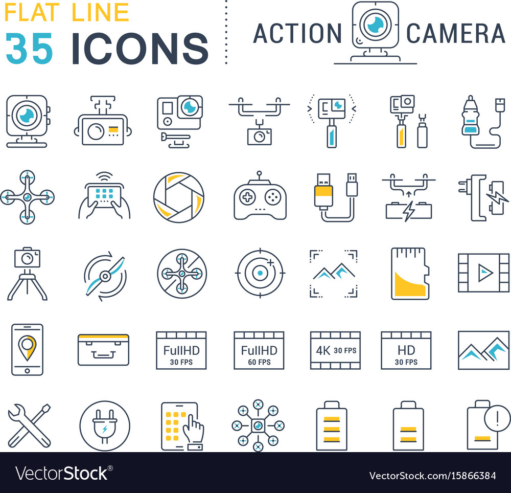Set flat line icons action camera