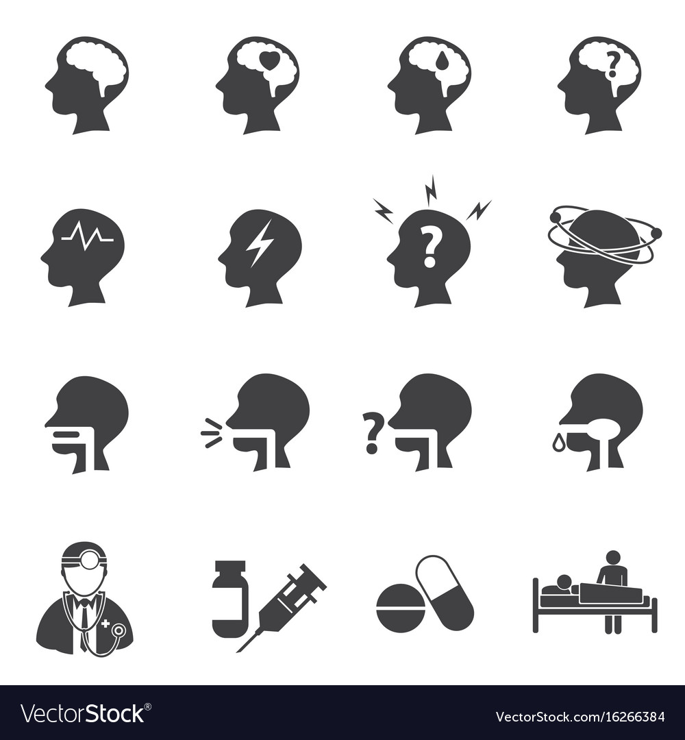Symptoms and pain icon set brain vector image