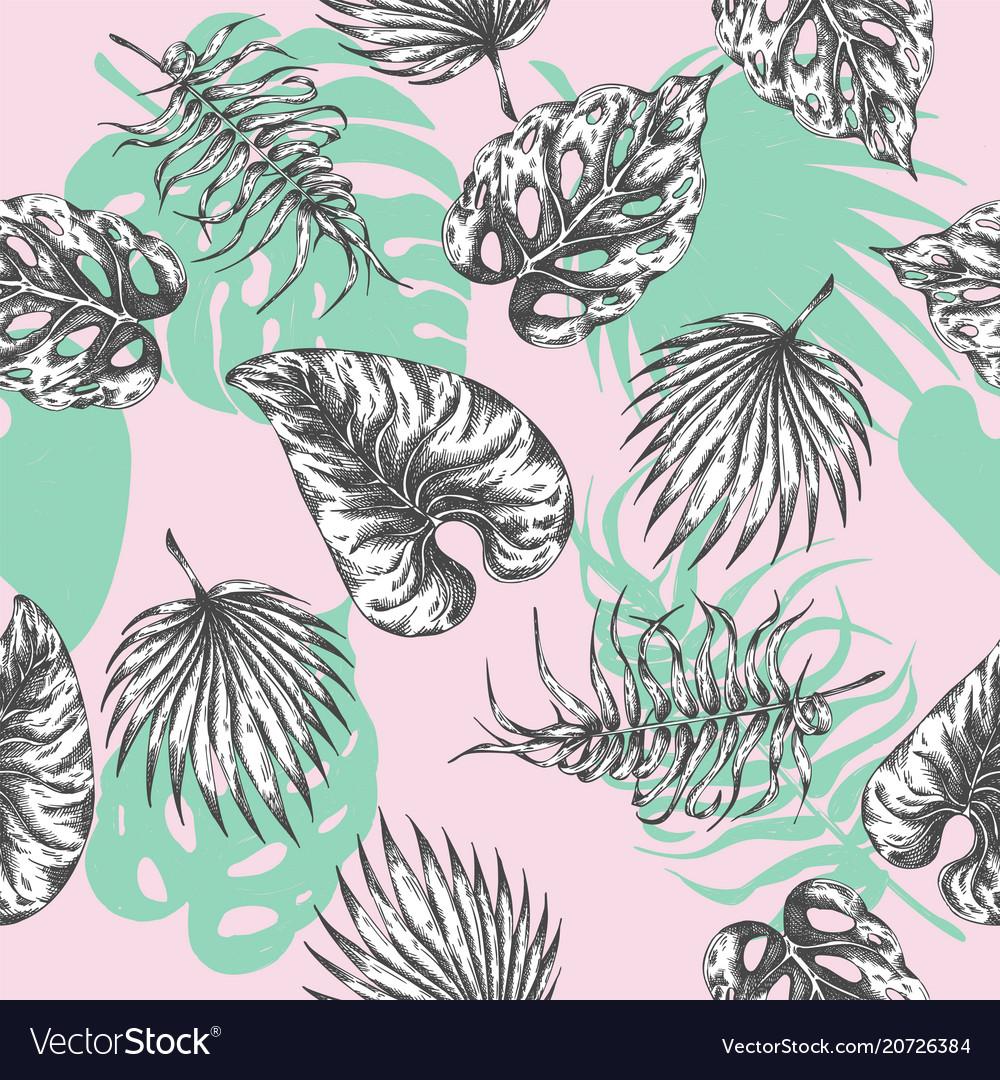Tropical leaves seamless pattern botanical