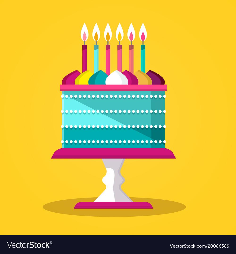 Cake Flat Design Icon Royalty Free Vector Image