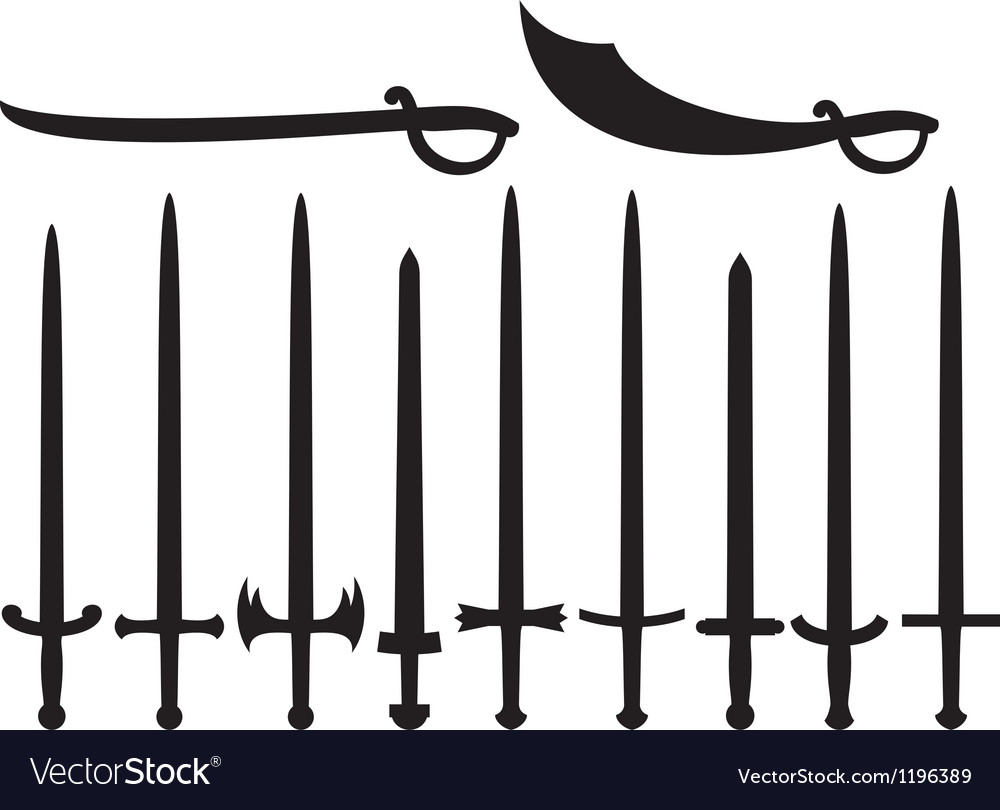 Collection of swords and sabers vector image