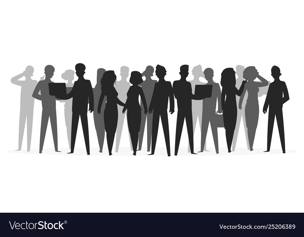 Crowd silhouette people group shadow young friend