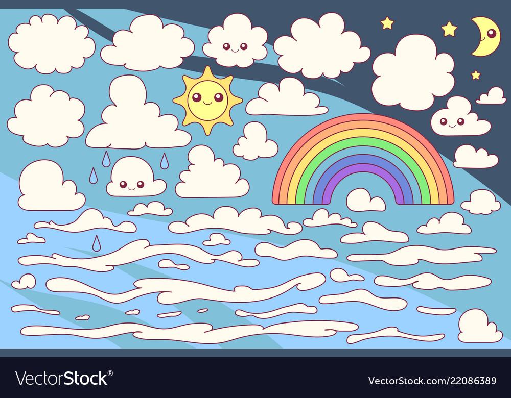 Cute cloudy sky set