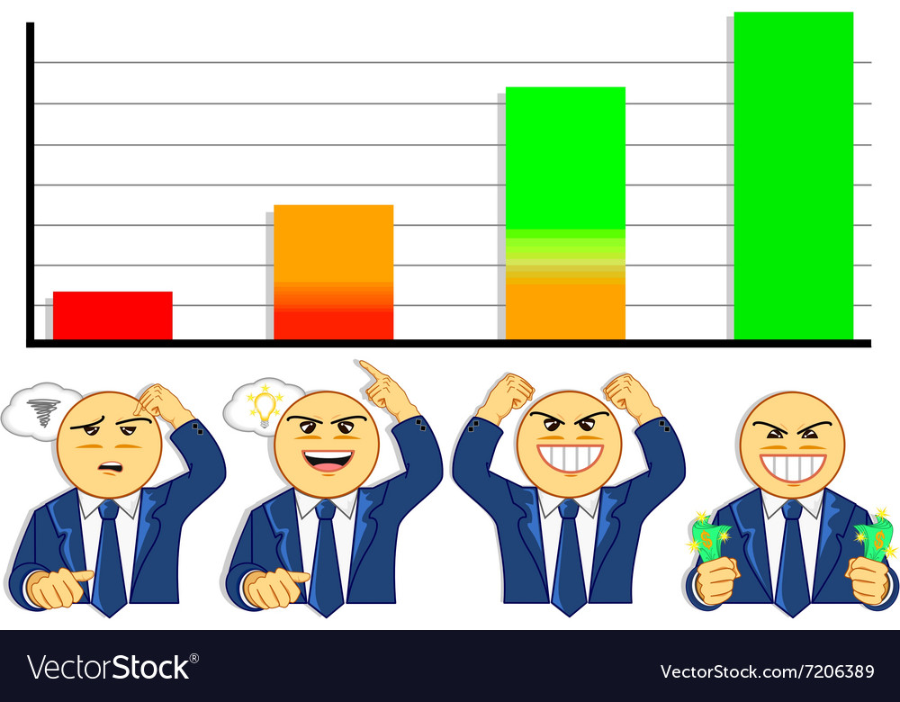 Emotions of businessman when looking at graph