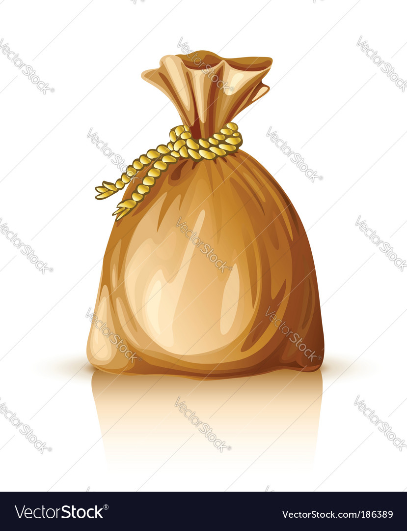 Full sack tied by rope vector image