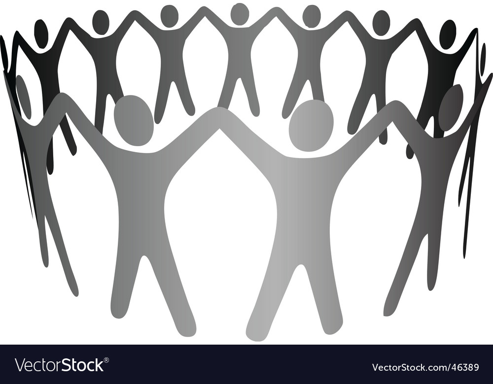 Group symbol people hold hands vector image