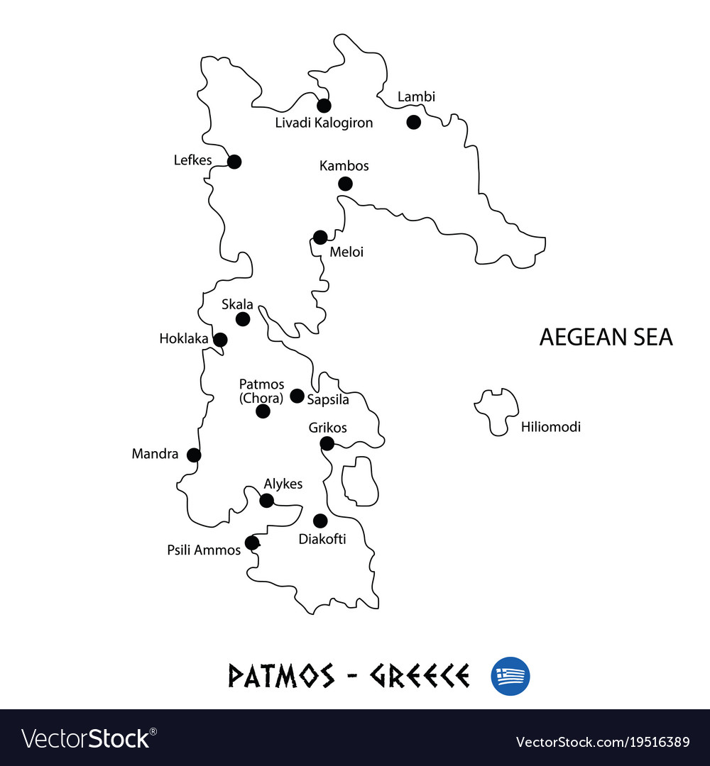 Island Of Patmos In Greece Map On White Background