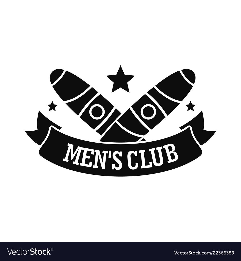 Men cigar club logo simple style