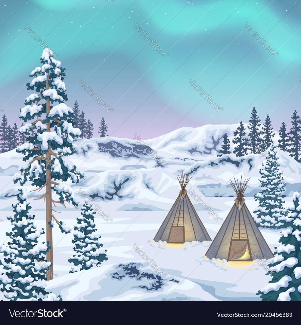 Northern landscape with aurora borealis