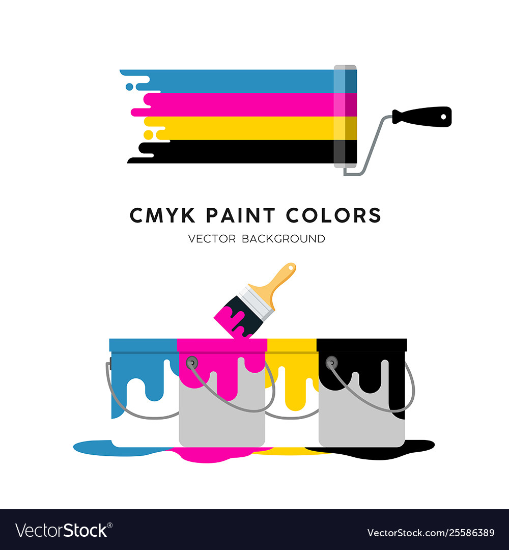 Paint roller and paint can colorful design