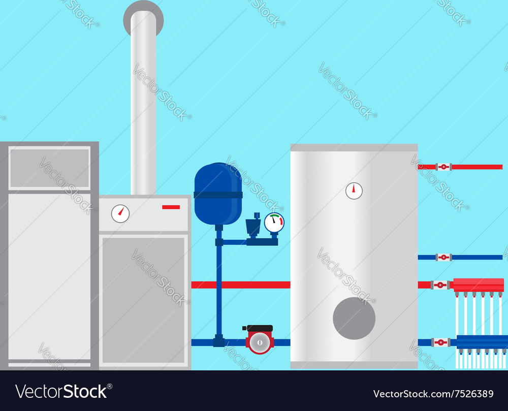 Pyrolysis boiler in the cottage Royalty Free Vector Image