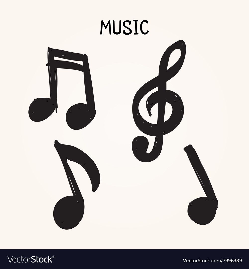Set Of Hand Drawn Music Notes On White Background Vector Image