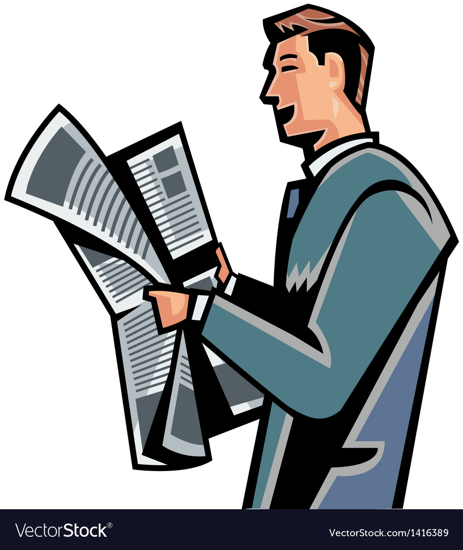 side view of man reading newspaper royalty free vector image