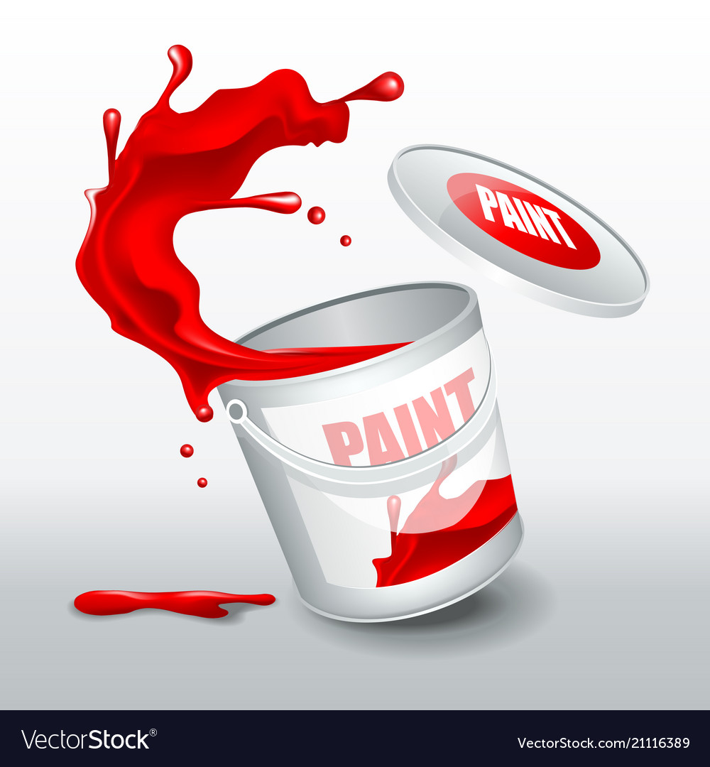 Splash red paint realistic 3d image