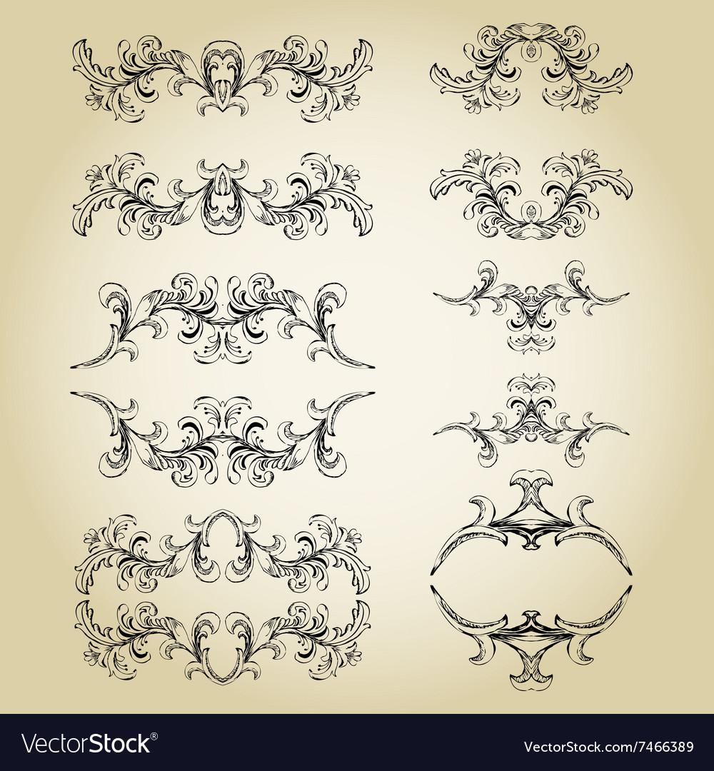 Vintage floral frame Element for design