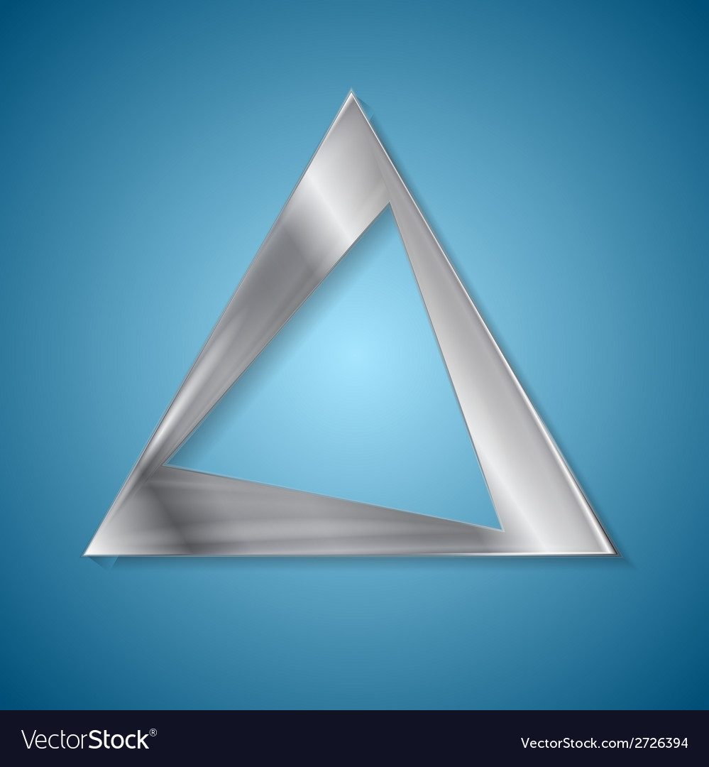 Abstract silver triangle logo design vector image