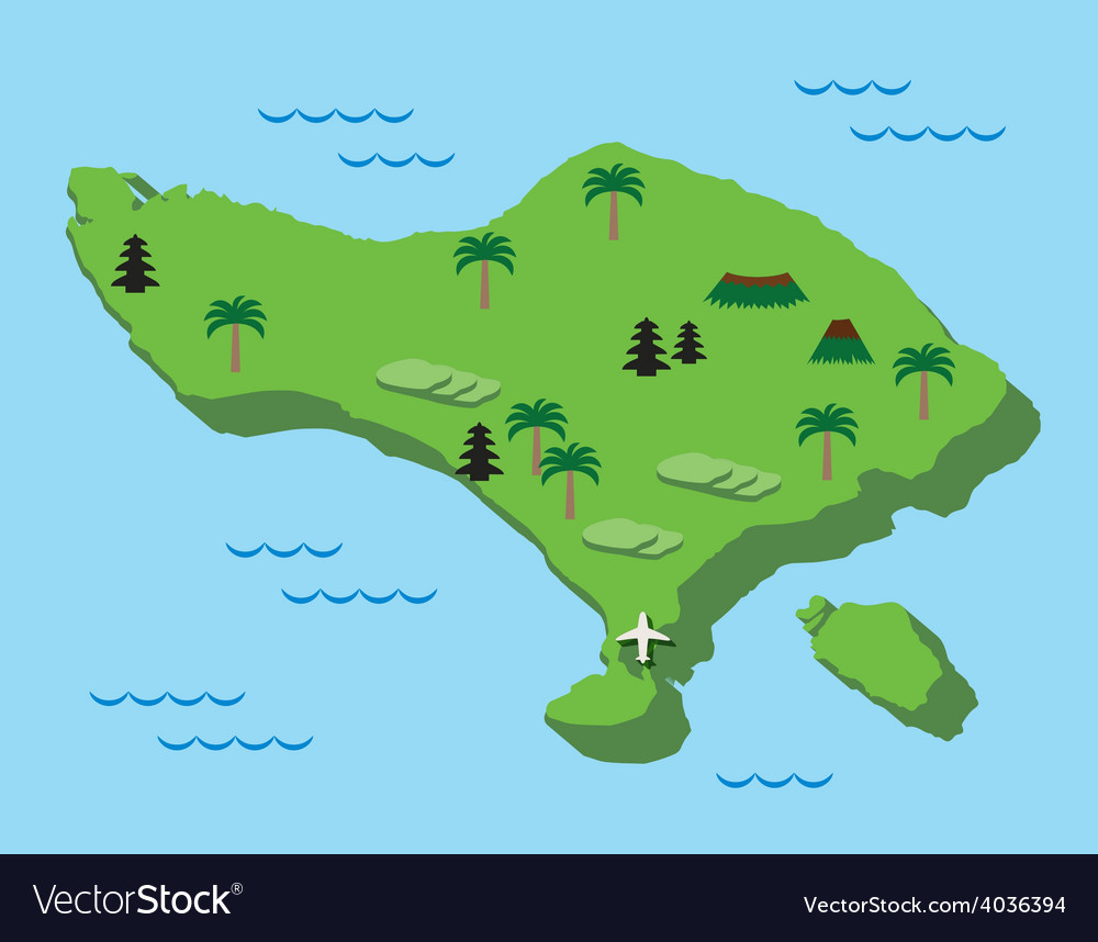 Bali Map Flat Design Royalty Free Vector Image