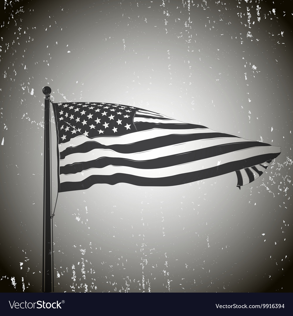 Developing the wind patriotic American flag Old