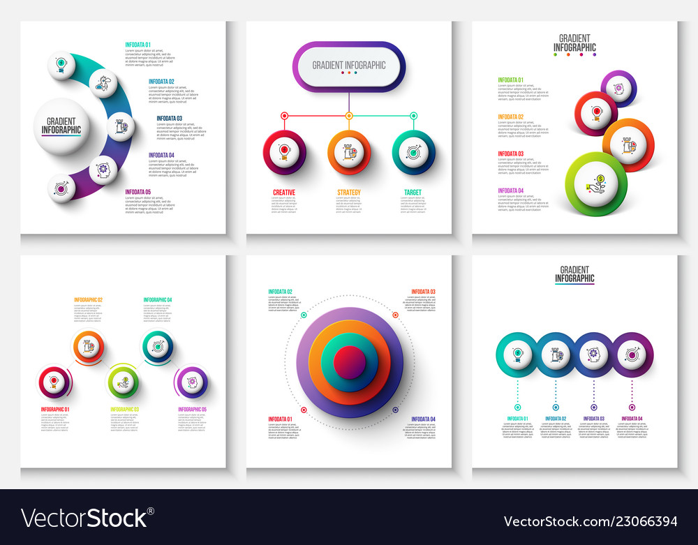 Gradient infographic and marketing elements