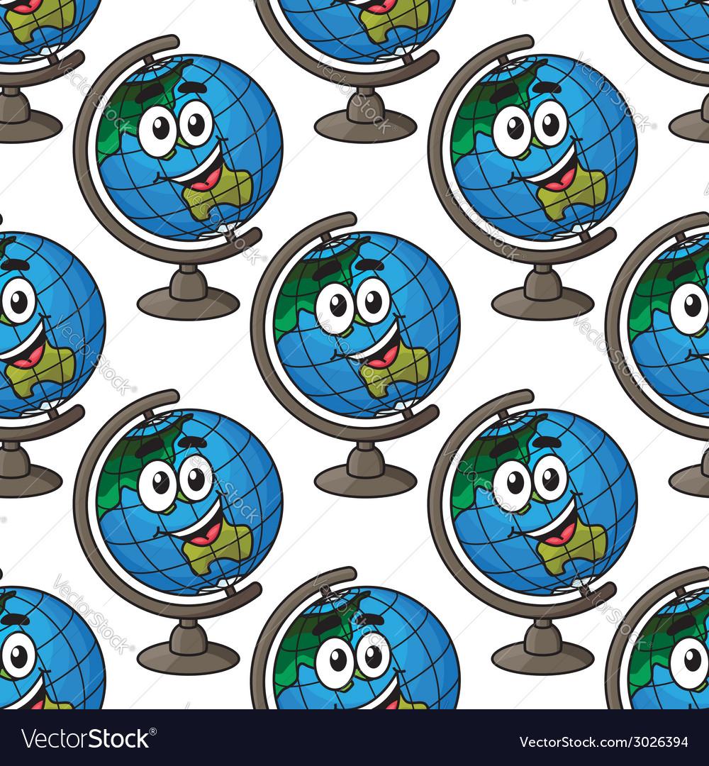 Happy cartoon globe seamless pattern vector image