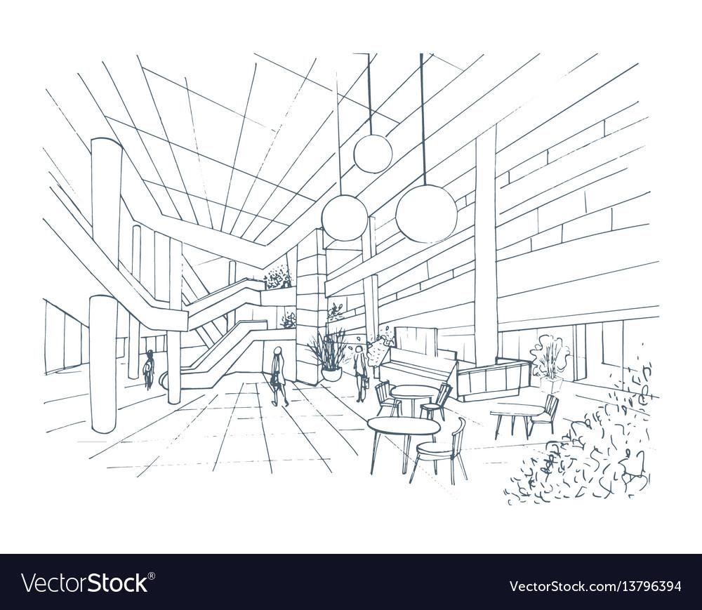 Modern interior shopping center mall contour Vector Image