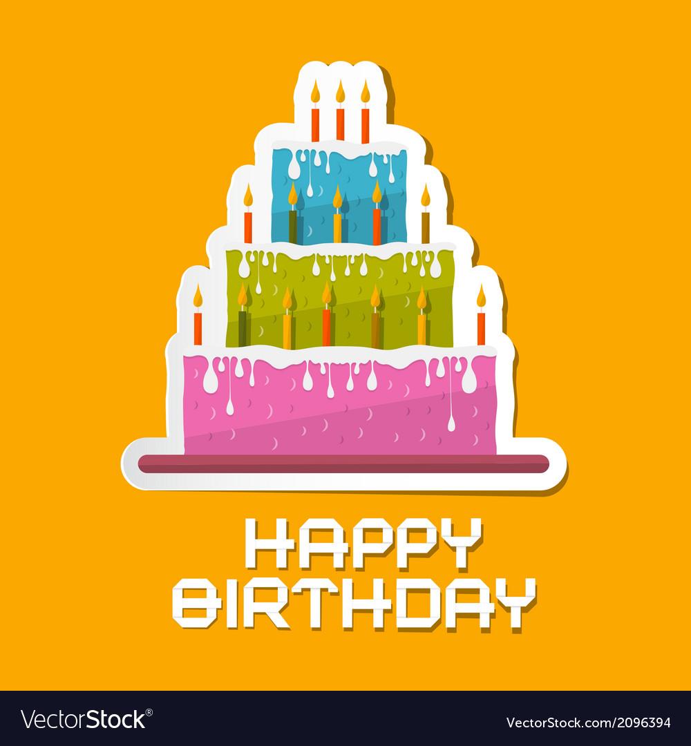Orange Birthday Background with Cake