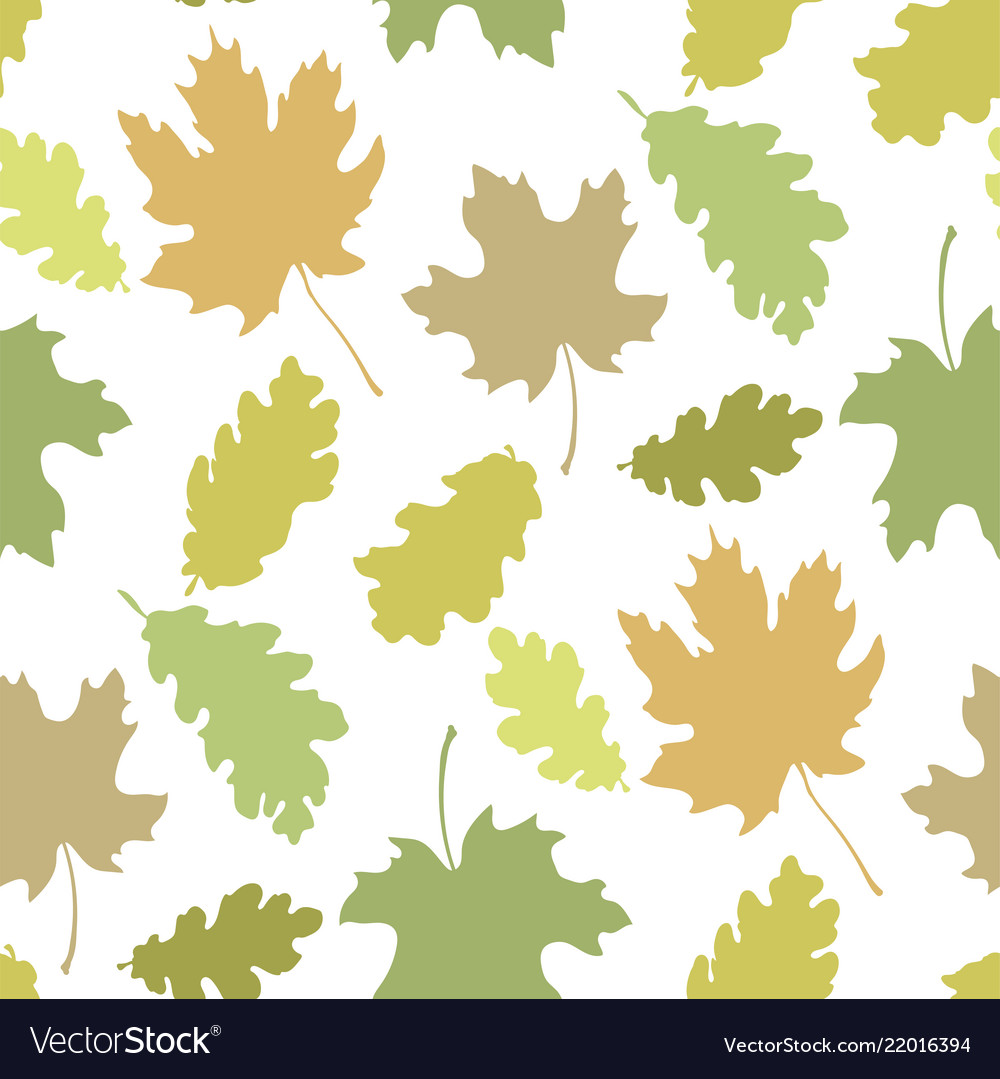 Seamless Pattern With Autumn Leaves Silhouettes In