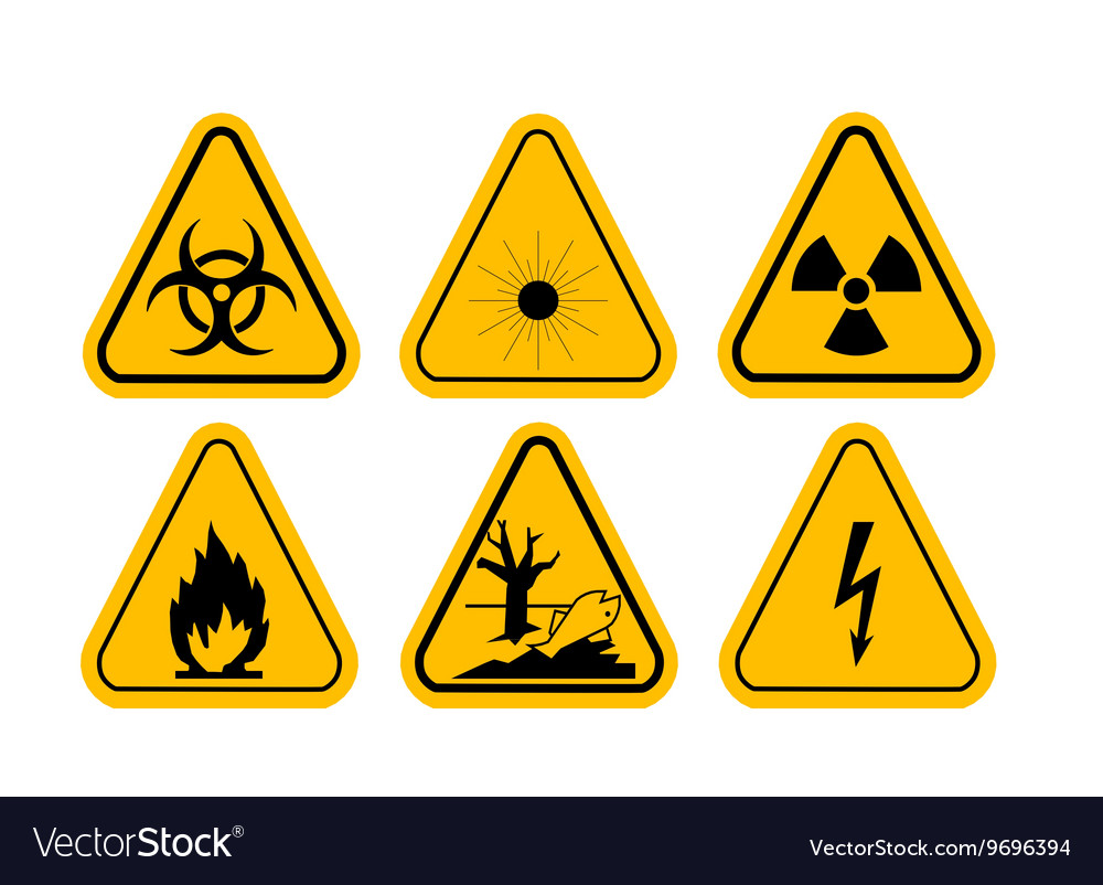 Set Of Triangle Yellow Warning Icons Royalty Free Vector