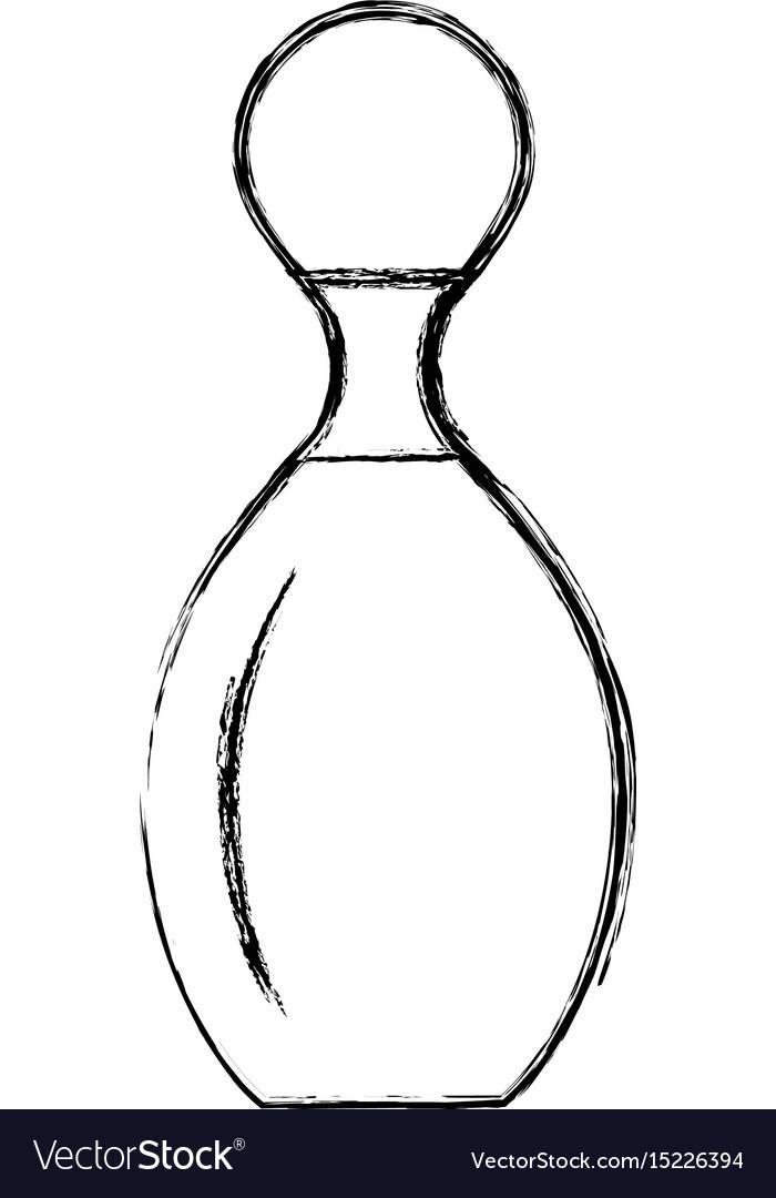 Sketch draw bowling pin cartoon vector image