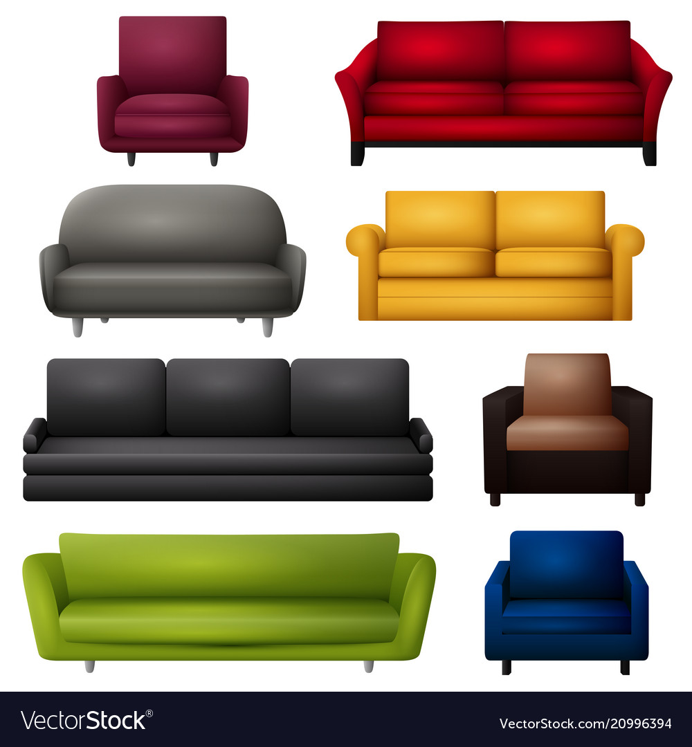 Sofa and couches colorful cartoo