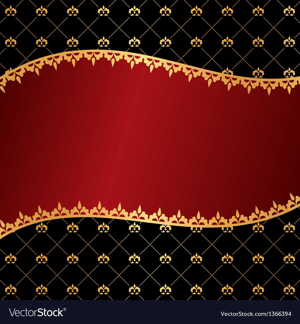 Vintage red background with wave frame of golden e vector image