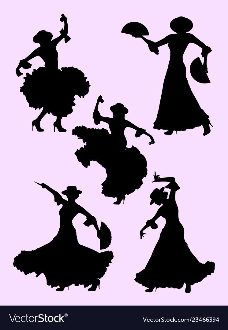 Woman dancing flamenco silhouette 01