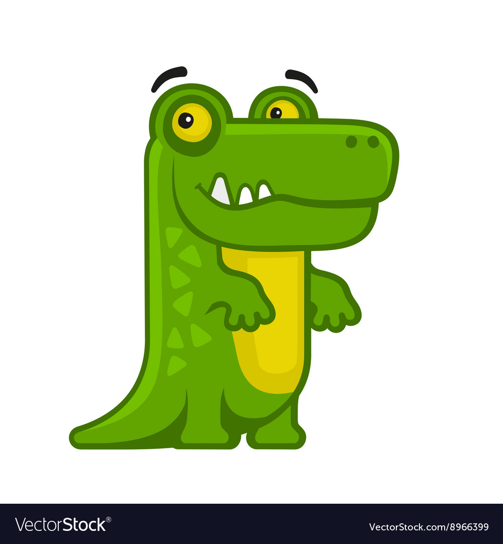 Alligator Cartoon Style Funny Animal on White vector image