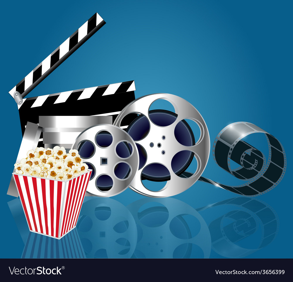Background with popcorn and film strip vector image