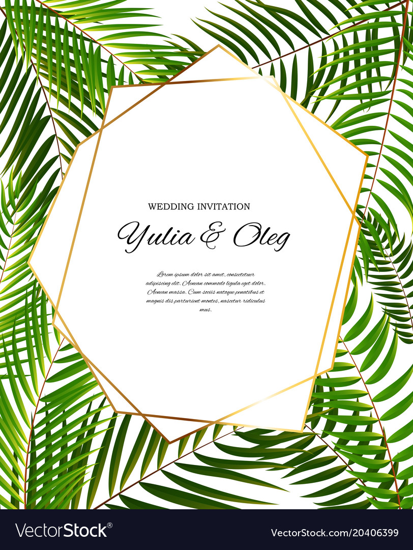 Beautifil wedding invitation with palm tree leaf vector image stopboris Image collections