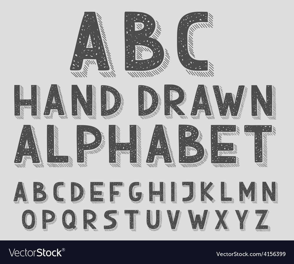 Hand drawn doodle sketch abc alphabet letters