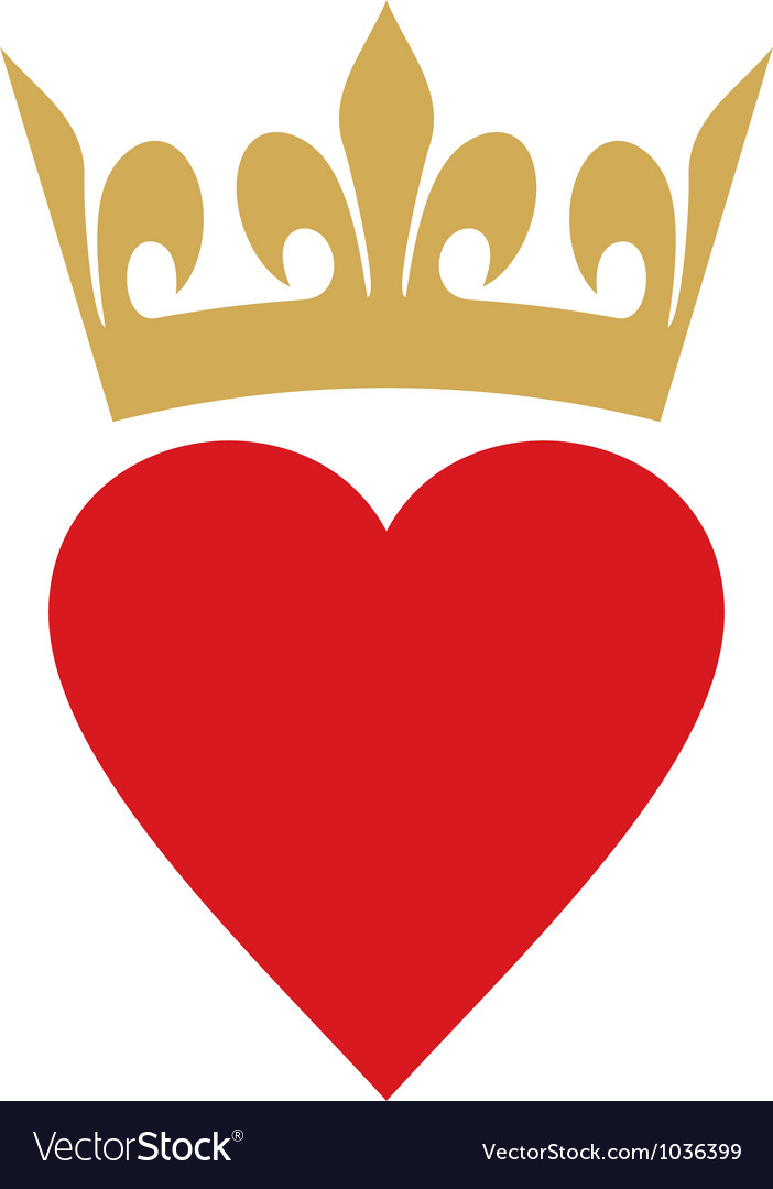 Heart with crown vector image