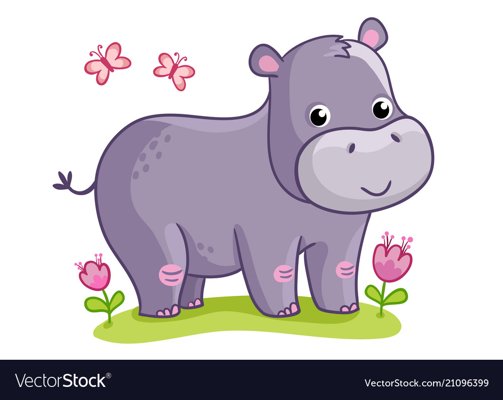 Hippo standing in the meadow with flowers