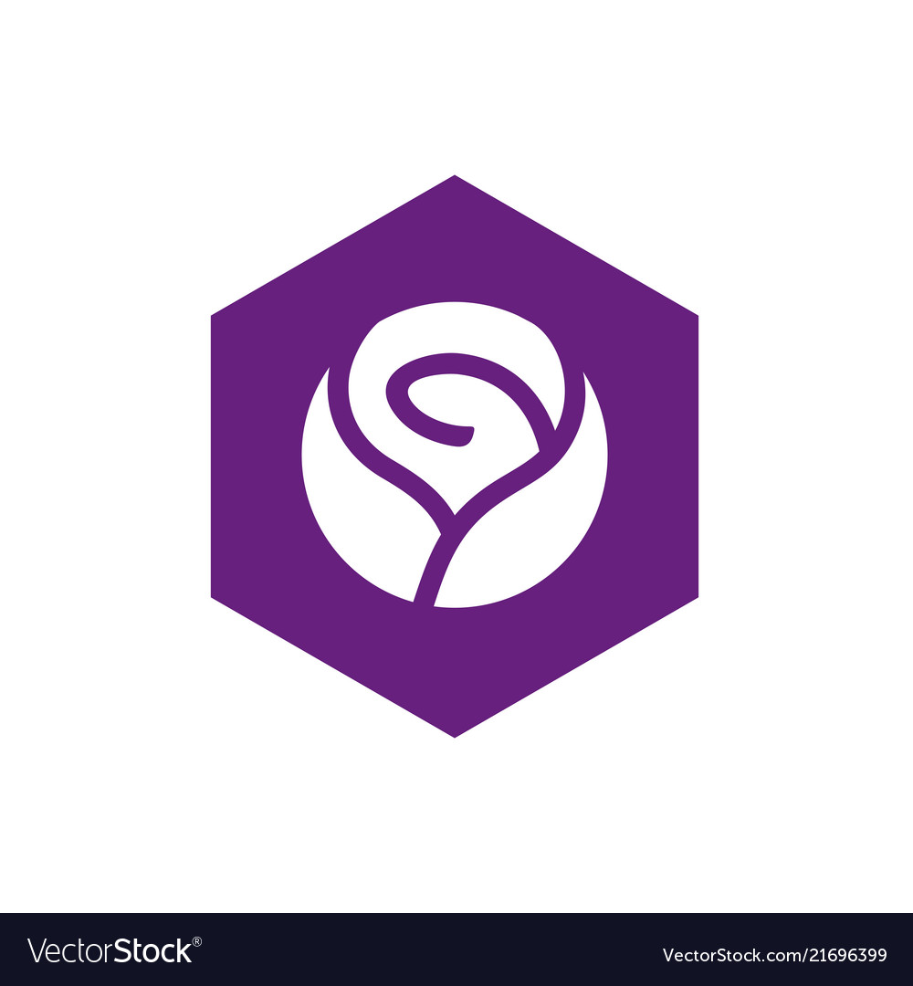 Rose flower and hexagon logo design