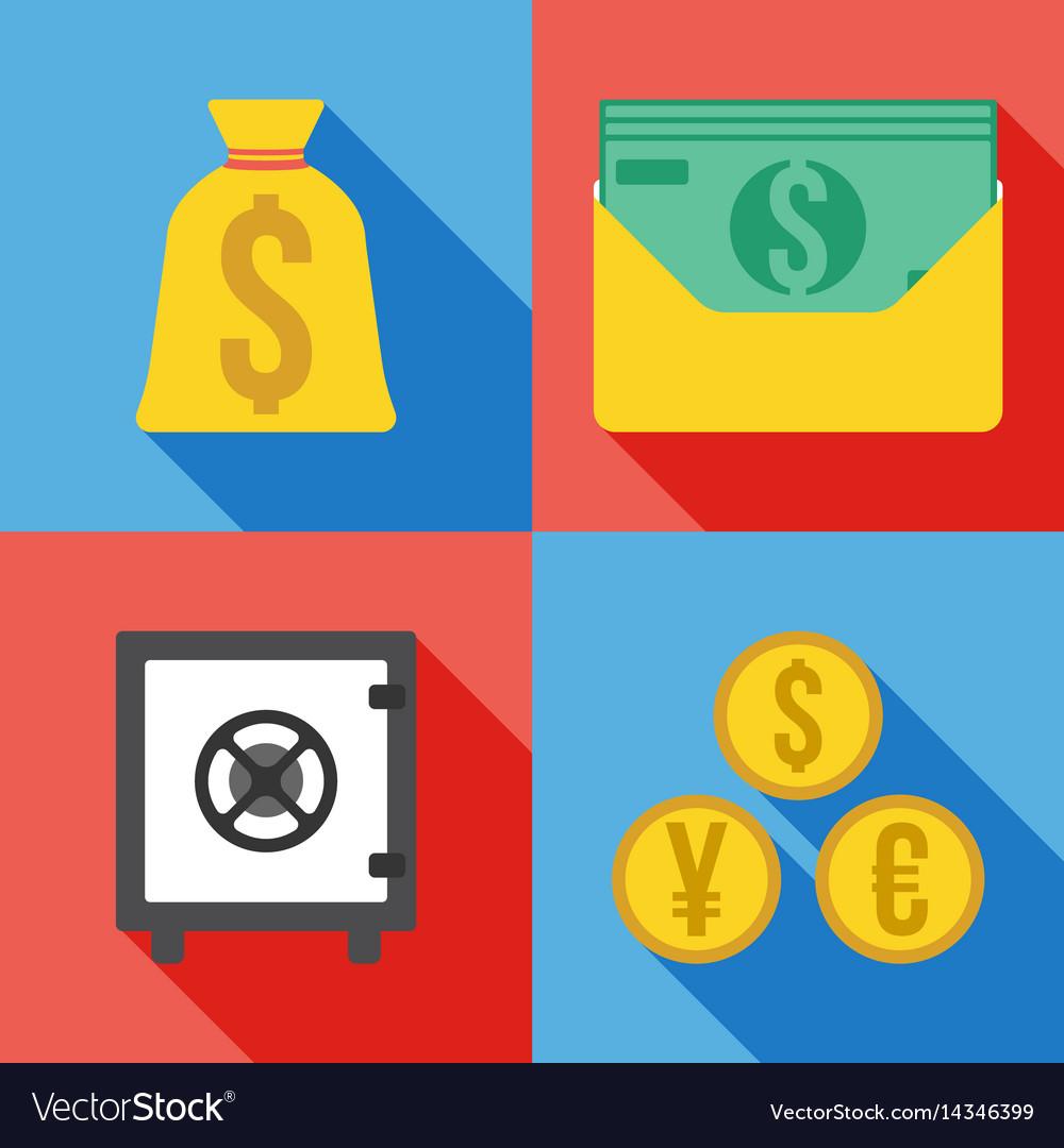 Set of 4 money icon flat
